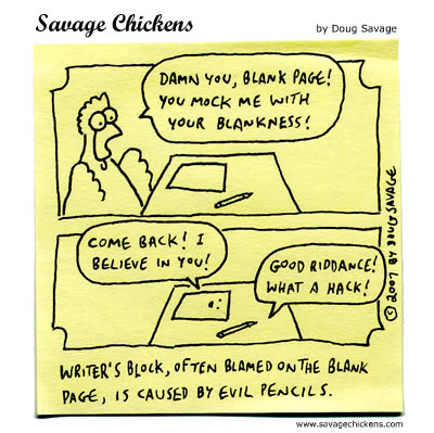 Cartoon about Writer's Block by Doug Savage